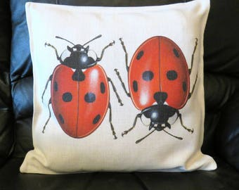 Ladybird Cushion Cover, Ladybirds Decorative Cushion, Ladybird Throw Pillow Cover, Ladybird Gift.