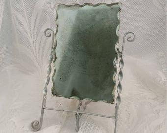 Antique Vintage Cold Chip Folding Travel Shaving Mirror Mounted on Stand ~ c. 1930s