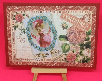 Vintage style valentine card - handmade romantic, French inspired with pink flowers, red hearts, To My Love greetings card, Valentine's Day