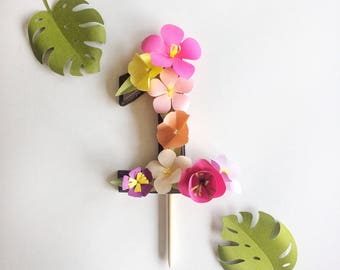Cake Topper, Hawaiian Cake Topper, Tropical Cake Topper, Luau, Hawaiian Party, Moana Cake Topper, Tropical Number