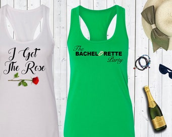 The bachelorette party I got the rose Tank Tops. Bachelorette Party Shirts.Bride Tank. Bridesmaid Shirts. [W0237] [W0238]