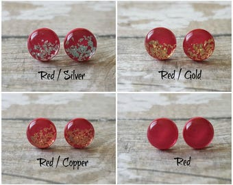 Red stud earrings, Sparkly earrings red, Christmas gift for mom, Red gift ideas, Red studs,  Red earrings stud, Beautiful earrings modern