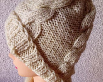 Hand knit hat Oversized Chunky Wool  Hat   ivory, hat slouchy hat  ivory, cable hat Superwash Wool