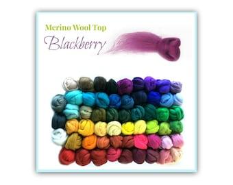 Fairy Wool Top / Roving, 1 oz Blackberry Merino Fiber Art Supply, Purple Wool Top for Spinning, Felting, Knitting,Felting Wool, Spinning Top