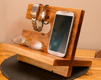Oak phone stand, docking station - wooden phone dock -  nightstand - phone stand - birthday gift for him - christmas gift for him
