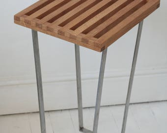 oak occasional hallway table with steel frame base