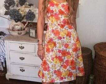 vintage 1960 floral summer dress