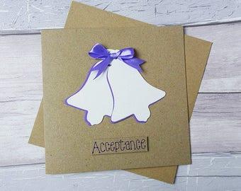 Wedding acceptance card, Handmade acceptance card, Wedding RSVP card, Wedding bells card, White wedding bells card, Happy couple card