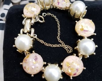 Magnificent Coro Bracelet with Confetti Stones and Faux Pearls