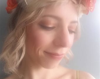 Fire Rose Flower Feather Crown