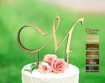 m cake topper, letter cake topper, rustic cake topper, cake toppers for wedding, monogram cake topper wedding , wooden m cake topper, CT#130