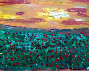 Original Oil Wall Painting Poppy Field Gift for Her Landscape Painting on Canvas Abstract Painting Bright Picture 30*40cm by Maria Bukharova