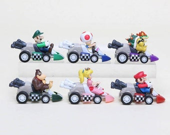 Mario Kart Mario Bros cake toppers birthday party figures video game Super Mario Brothers cake topper party favors PULL AND GO donkey kong
