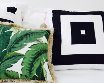 Modern Monochrome Black and White Geometric Bespoke Cushion Cover - 47x47cm - Cover Only