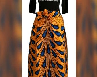 Large Pleat Ankara Maxi Skirt. African Print Women's Clothing. High Waisted Skirt