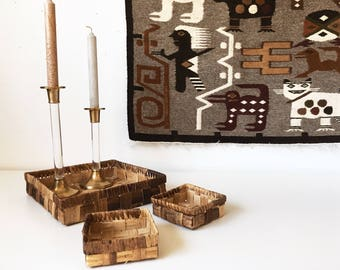 Vintage Wicker Square Basket Trays + Set of 3 + Desk Accessories Organizer + Coffee Table Tray + Vanity Storage + Naturally Modern Woven