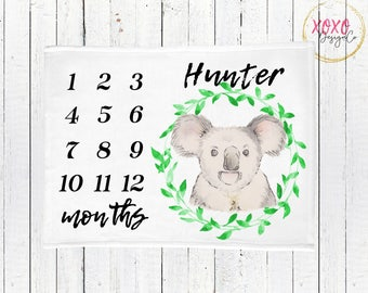 Personalized Baby Blanket / Watercolor Baby Blanket / Koala Baby Blanket / Monthly Milestone Blanket / Australian Baby Gifts / Baby Boy Gift