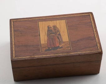 Wood Inlay Marquetry Box / Women Walking Image