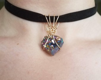 Rainbow Druzy Necklace (Choice of Choker or Long Cord)