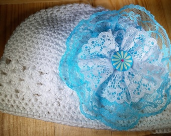 New Baby Beanie with Turquoise Detachable HairClip