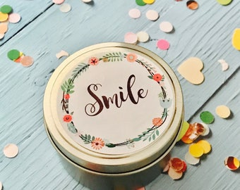100% soy candle tin | Smile candle | 6oz travel tin soy candle | Birthday gift | Thank you