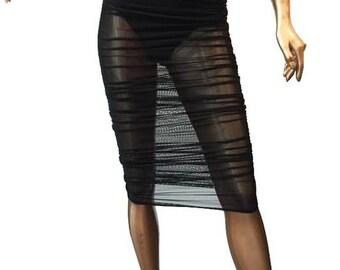 Sheer Mesh Side Ruched Midi Skirt/Custom Women Sheer Mesh Midi Skirt