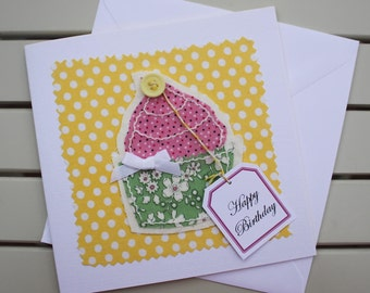 Birthday Card - Handmade - Fabric Collage - Hand Sewn - Cup Cake