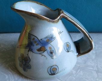 Tonala Pottery Pitcher Folk Art Ken Edwards Signed! Images of Flowers, Birds, Butterflies, Snails and Leaves! Beautiful Blue Gray!
