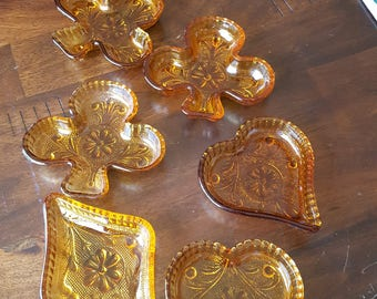 Vintage Tiara Exclusives SANDWICH AMBER Personal Ashtrays (Indiana Glass) - Set of Six