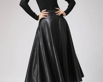 Long Maxi Leather Flared Skirt - Black, Brown, Gold, Pink, Tan, Nude etc