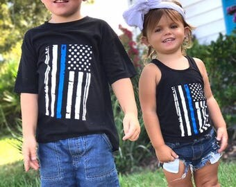 Blue Line//Back the Police//Support//Kids Tee