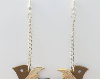 Swallow earrings taupe leather - handmade
