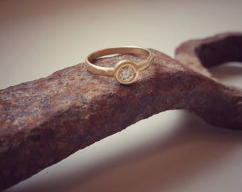 Gold Diamond Ring, Gold Engagement Ring, Gold Solitaire Ring, Gold Wedding Ring, 14K Engagement Ring, Unique Engagement Ring, Classic