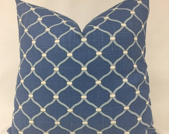 Pillow Cover - Blue Pillow - Light Blue  White  Pillow- Lattice Design Pillow - Lined - Invisible Zipper