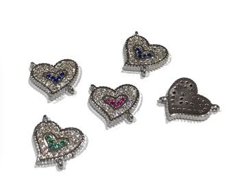CZ Micro Pave Silver Heart Charm Connector, Pave Connector, Bracelet Connector, Heart Findings, CZ Links, Jewelry Findings,, 11x10x2mm,1 Pc