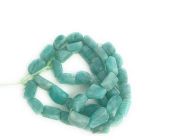 Amazonite Nugget Beads, Amazonite Beads, Natural Faceted Amazonite Beads, Jewelry Supplies, Beading Supplies., Jewelry Making, 9x7mm-13x9mm