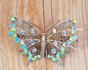 1920s Italian 800 Silver Butterfly Brooch with Enamel, Silver Filigree Pin, Pastel Butterfly Brooch,  Butterfly Jewelry, Caserta Hallmark
