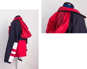 Vintage ORIGINAL WINDBREAKER Colorblock Jacket ⋆ Red Navy Blue White ⋆ Stripes Zip Button Pockets ⋆ Medium Weight Hip Hop Streetwear Jacket