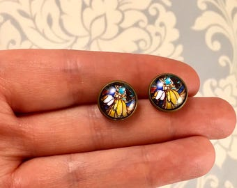 Beauty and the Beast Stained Glass Scene Stud Earrings