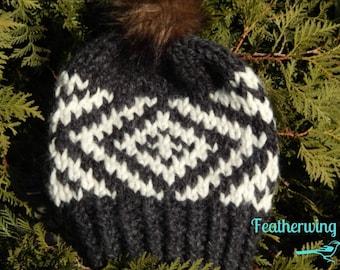 Aspen Beanie//Wool Hat//Ski Hat//Toboggan Hat//Toque//Faux Fur Pompom