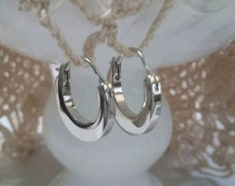 Vintage tiny Monet silver hoops pierced
