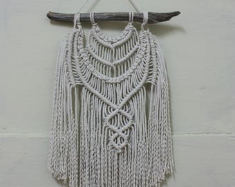 Macrame Knot Wall Hanging - Handmade Bohemian Wall Hanging - Rustic Driftwood