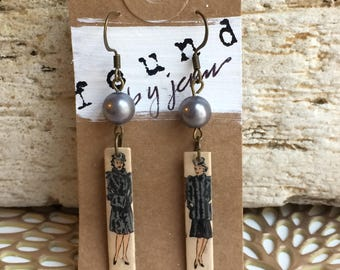 Matchstick Earrings, Vintage Earrings, Vintage Matchsticks, Gray Earrings, Funky Earrings, Vintage Women, Vintage Fashion, Recycled Jewelry