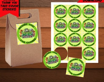 Plants VS Zombies Thank You Tags-Plants Zombies Favors Tags-Digital Zombies Thank You Tags-Printables Thank You Tags-Plants Party Decoration
