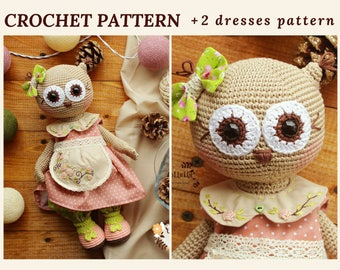 Crochet Owl Pattern Amigurumi Owl Crochet Toy Pattern Woodland Animal Toy Amigurumi Pattern Stuffed Owl
