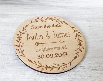 Save the date Magnet, Wooden Announcement, Rustic Wedding Invitation, Wedding Magnets, Save the date Wedding, Custom save the date Magnets