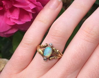 Art Nouveau Opal and Diamond Ring, French, Circa 1900.
