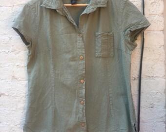 Sage Green Short Sleeve Cotton Button Down | Size M - 1X | Plus Size | Women's Vintage Clothing