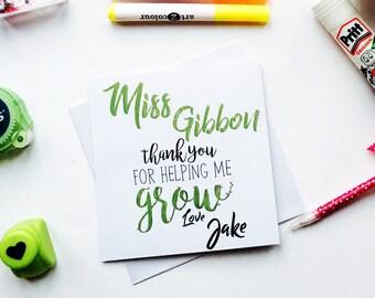 Teacher Gifts - Teacher Card - Thank You Card - Graduation Gift - Thank You For Helping Me Grow