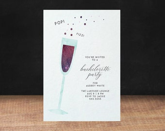 CHAMPAGNE BACHELORETTE PARTY invitation, ring, gold, blue, diamond ring, bachelorette party, Fling Before The Ring